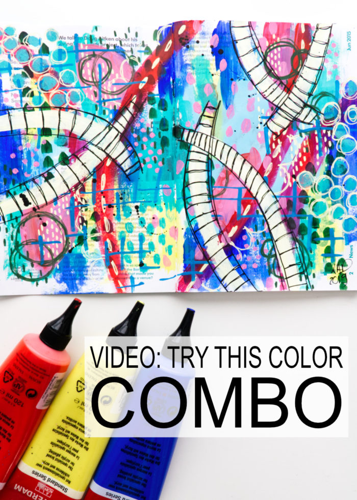 Color challenge and a bright and colorful art journal page by Kim Dellow