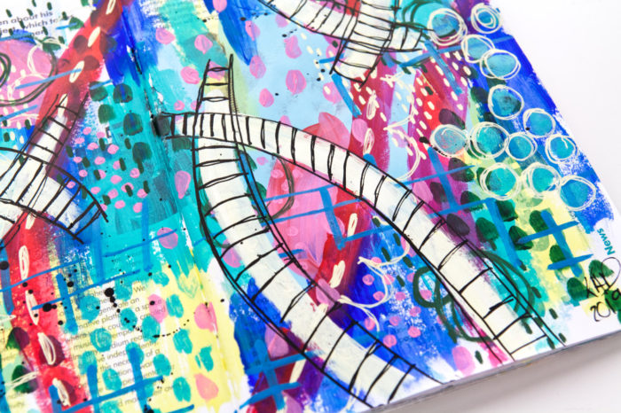 Color challenge close-up of the bright and colorful art journal page by Kim Dellow