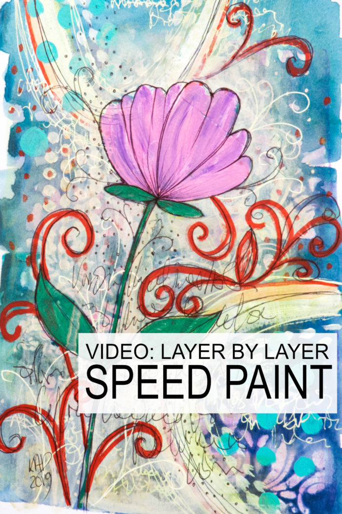 Acrylic paint and ball point pen flower on lots of layers by Kim Dellow