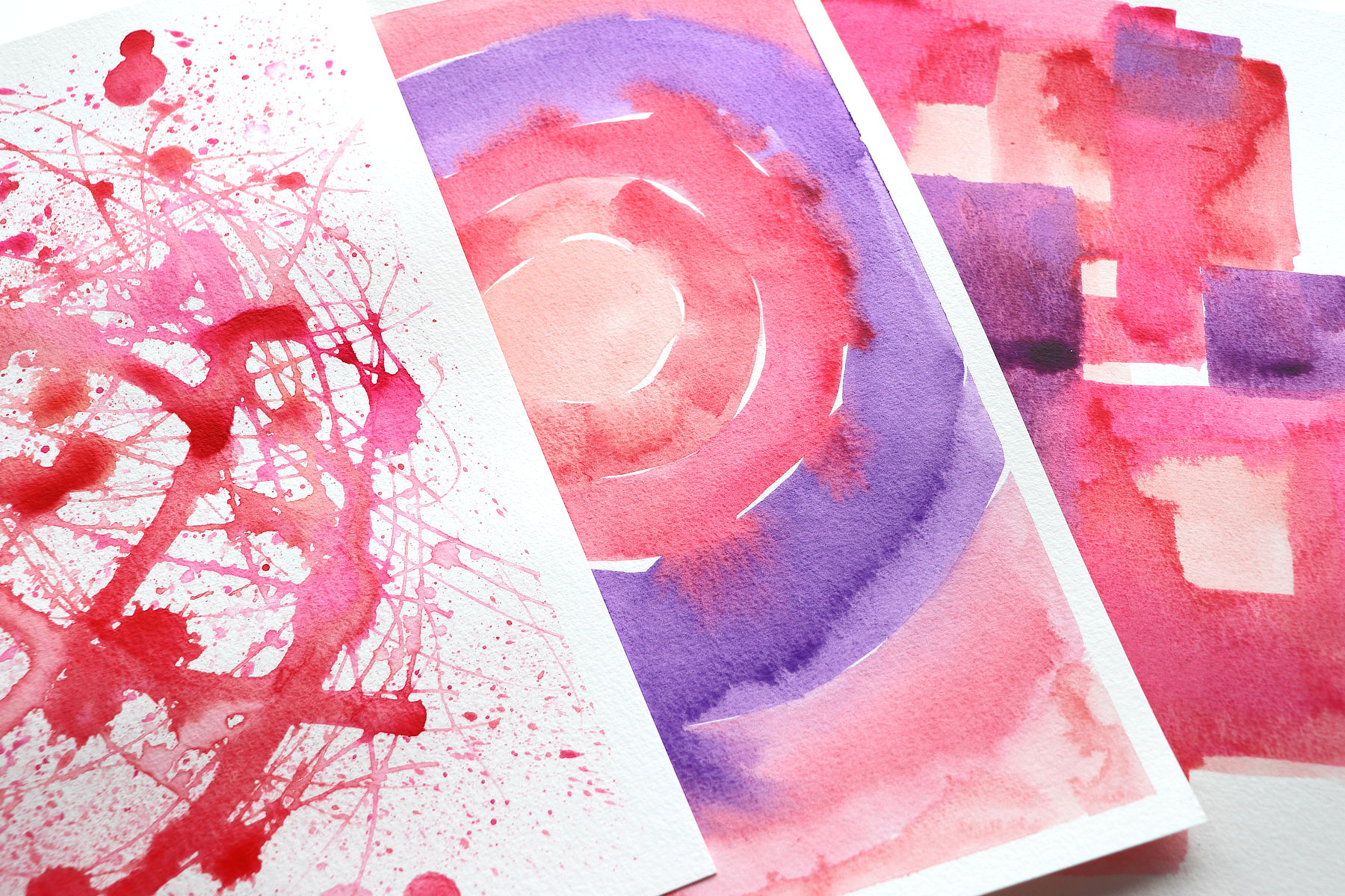 close up of 3 watercolour backgrounds made with acrylic paint by Kim Dellow