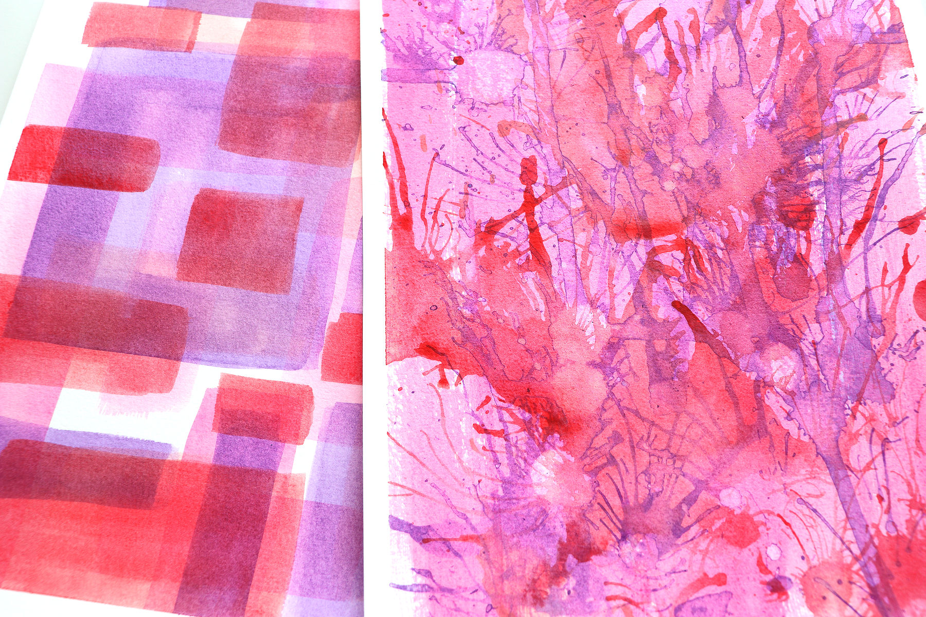 close up of 2 watercolour backgrounds made with acrylic paint by Kim Dellow