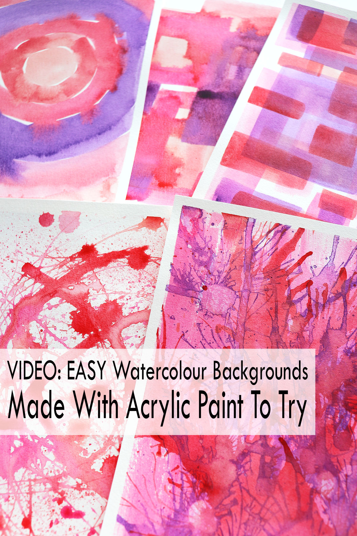 5 watercolour backgrounds made with acrylic paint by Kim Dellow