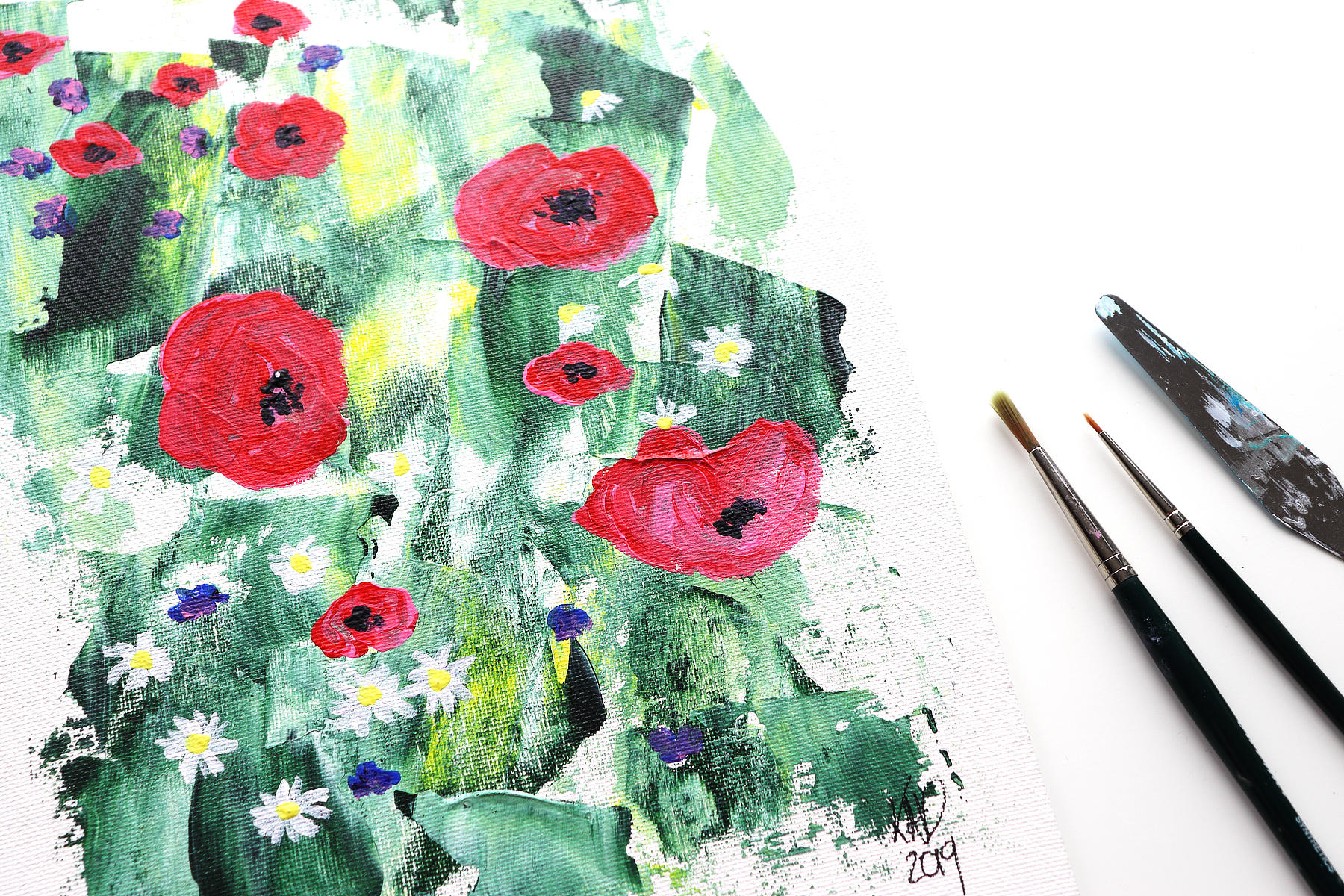 VIDEO: Abstract Summer Meadow Painting tutorial