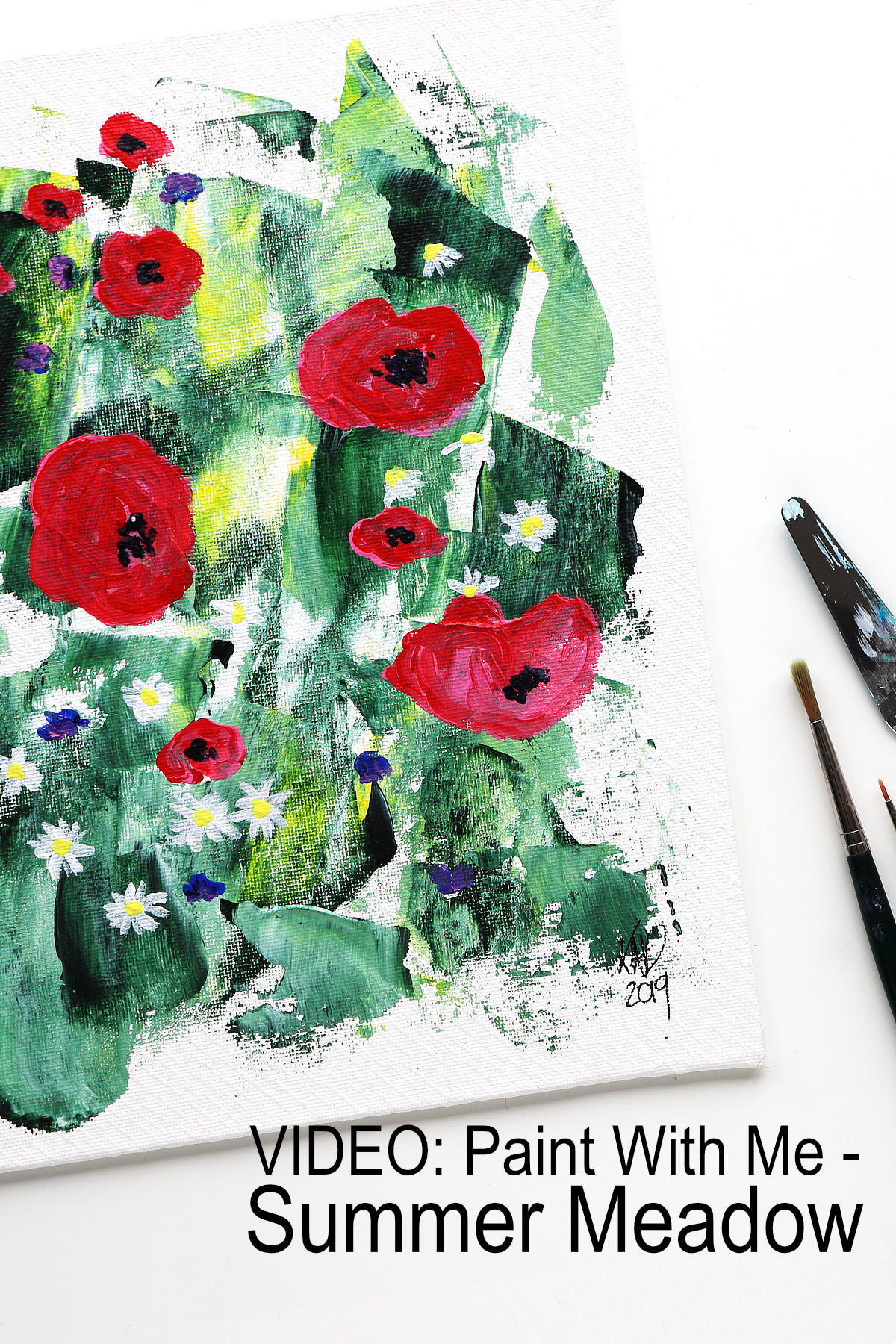 An Abstract Summer Meadow Painting tutorial by Kim Dellow