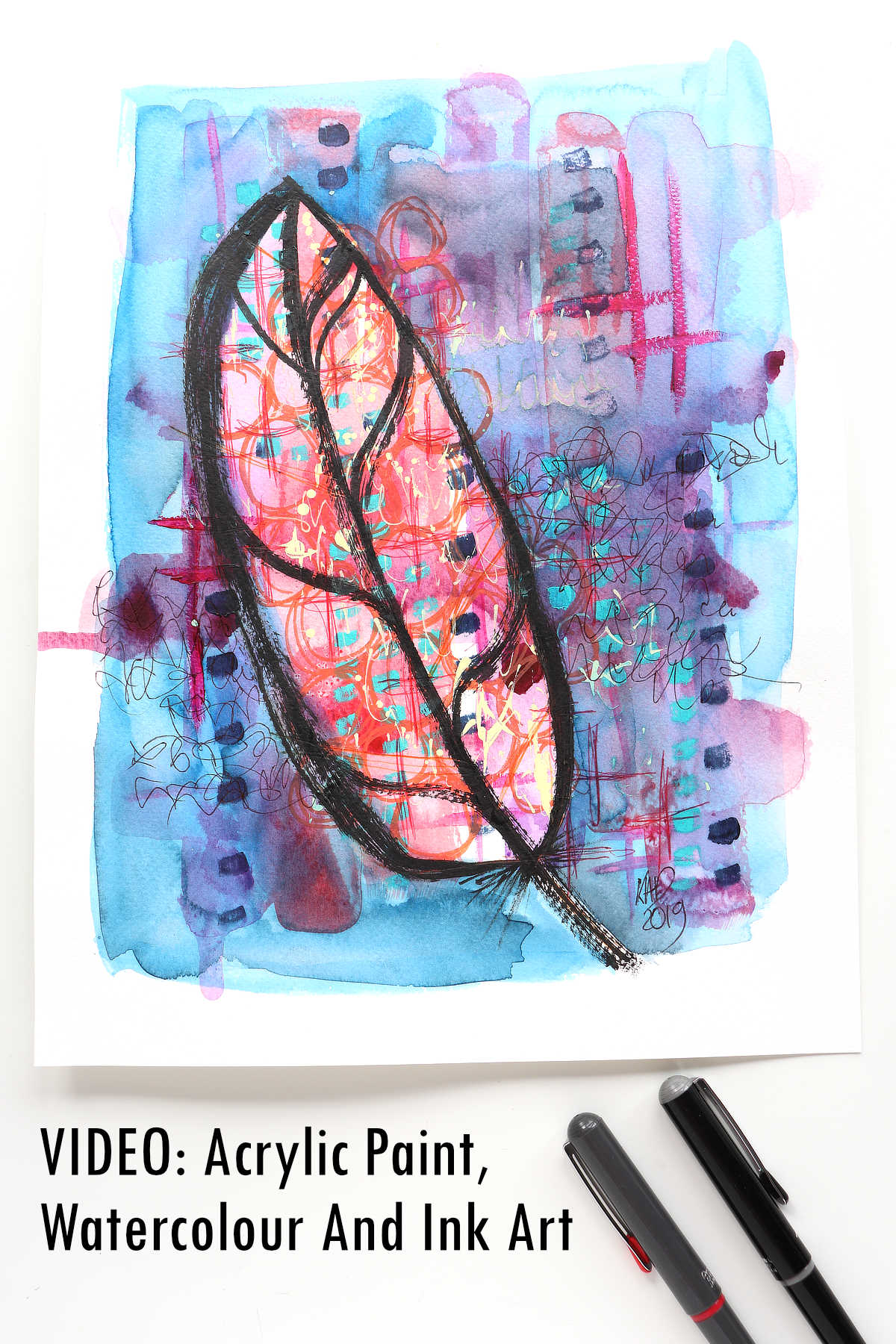 Acrylic Paint, Watercolour And Ink feather by Kim Dellow
