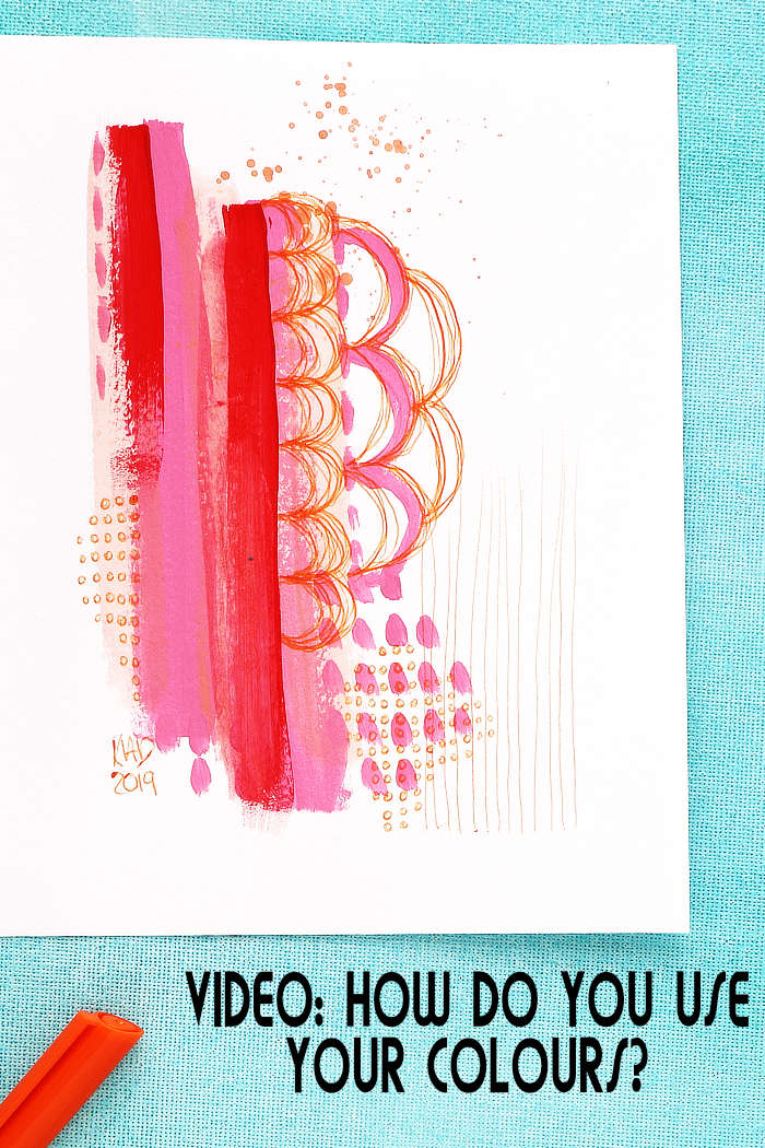 A warm colour abstract from Kim Dellow using acrylic paint and ball pint pen.