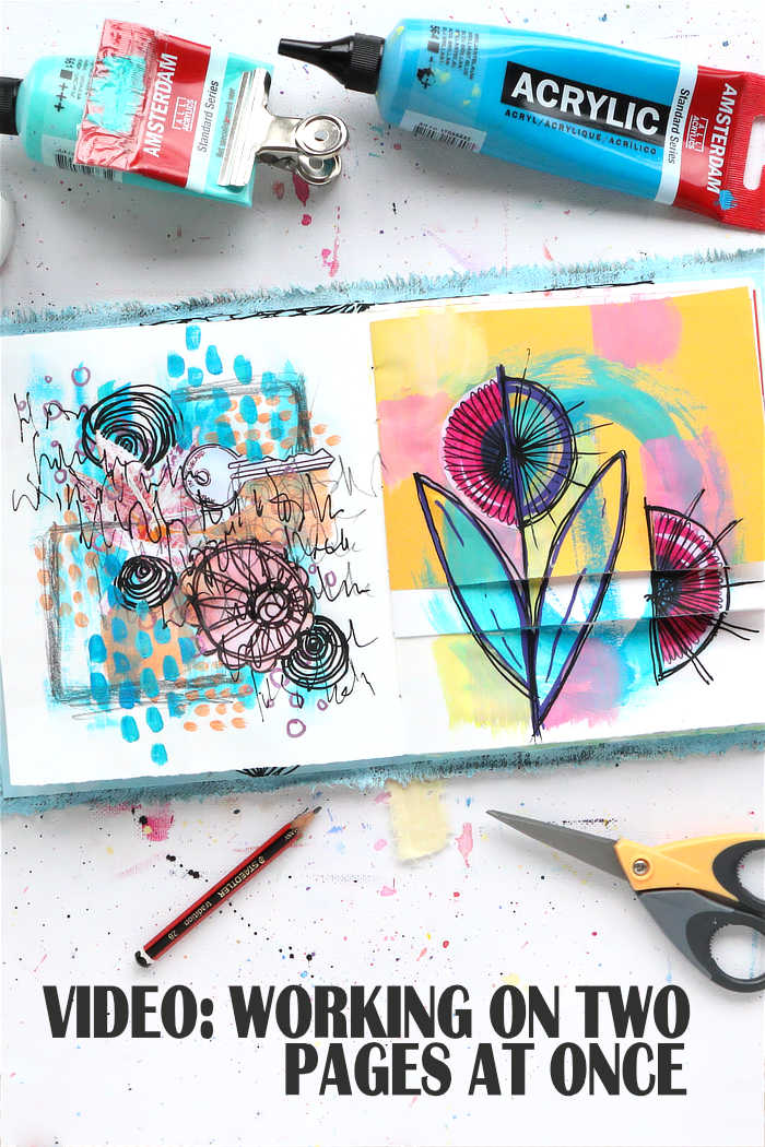 Two art journal pages process from Kim Dellow's DIY art journal