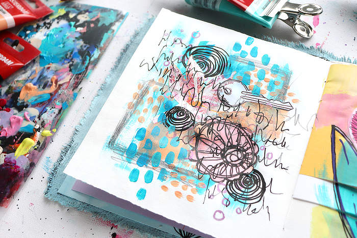 Close up on the collage page from Kim Dellow's DIY art journal
