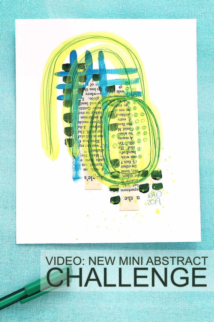 Mini abstract in yellow, blue, green with paint and pen but Kim Dellow