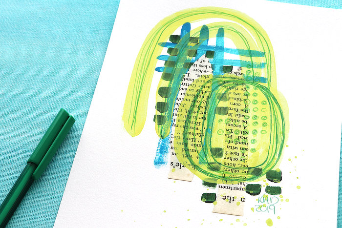 close-up of Mini abstract in yellow, blue, green with paint and pen but Kim Dellow
