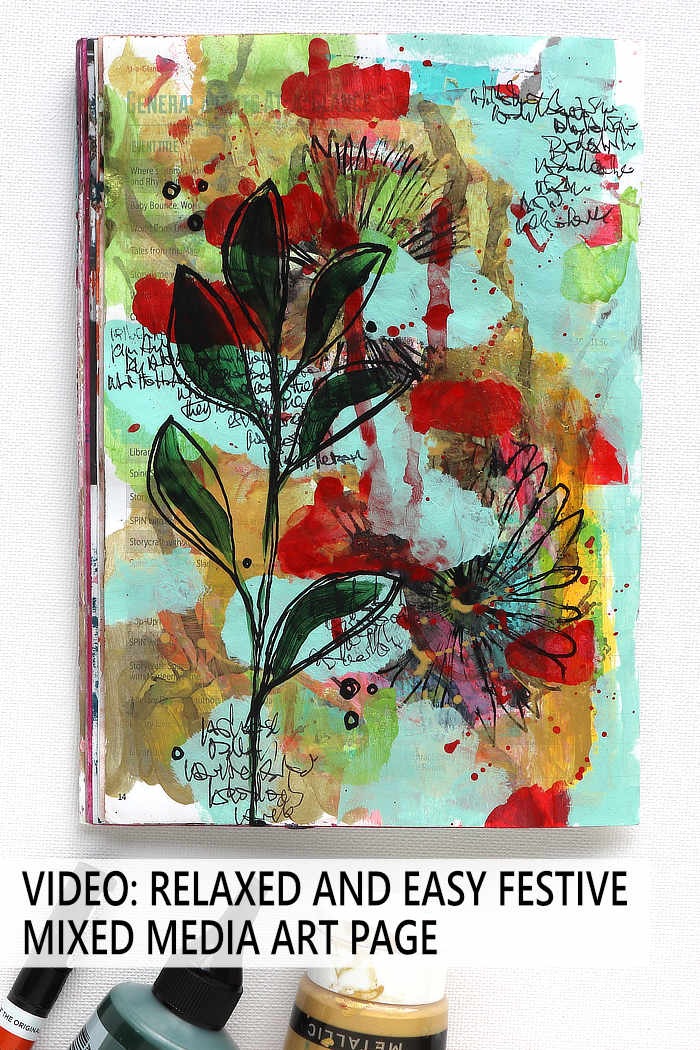 A festive mixed media art journal page in gold, red, green and mint by Kim Dellow.