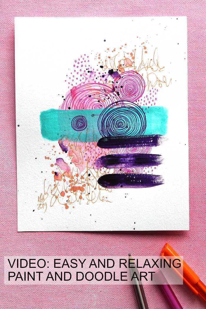 Easy And Relaxing Paint And Pen Doodle Art in pinks and orange by Kim Dellow