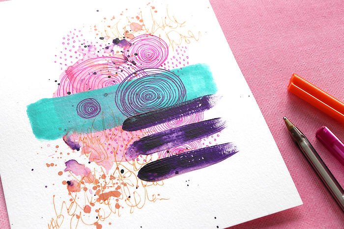 close up of Easy And Relaxing Paint And Pen Doodle Art in pinks and orange by Kim Dellow
