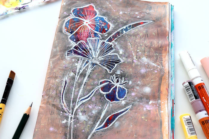 close up of the flowers and graphite junk journal page by Kim Dellow