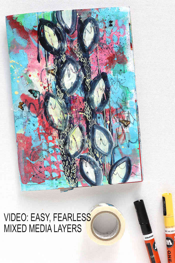 fearless junk journal page in reds and blues