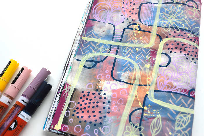 close up of Blocks of colour art journal page in muted colours by Kim Dellow