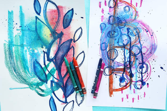 two pages of crayon Scribble for a creative exercise with Kim Dellow