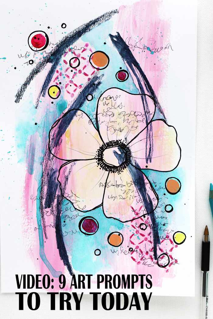 A big mixed media flower illustration using 9 art prompts from Kim Dellow