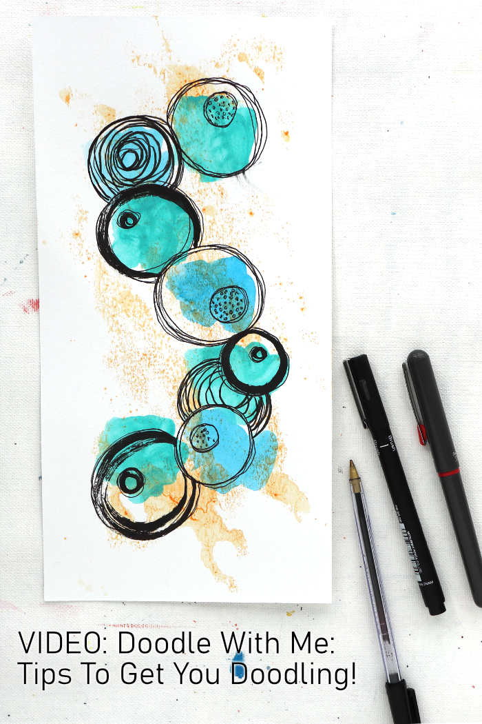 A line of pen circle doodles on acrylic paint by Kim Dellow