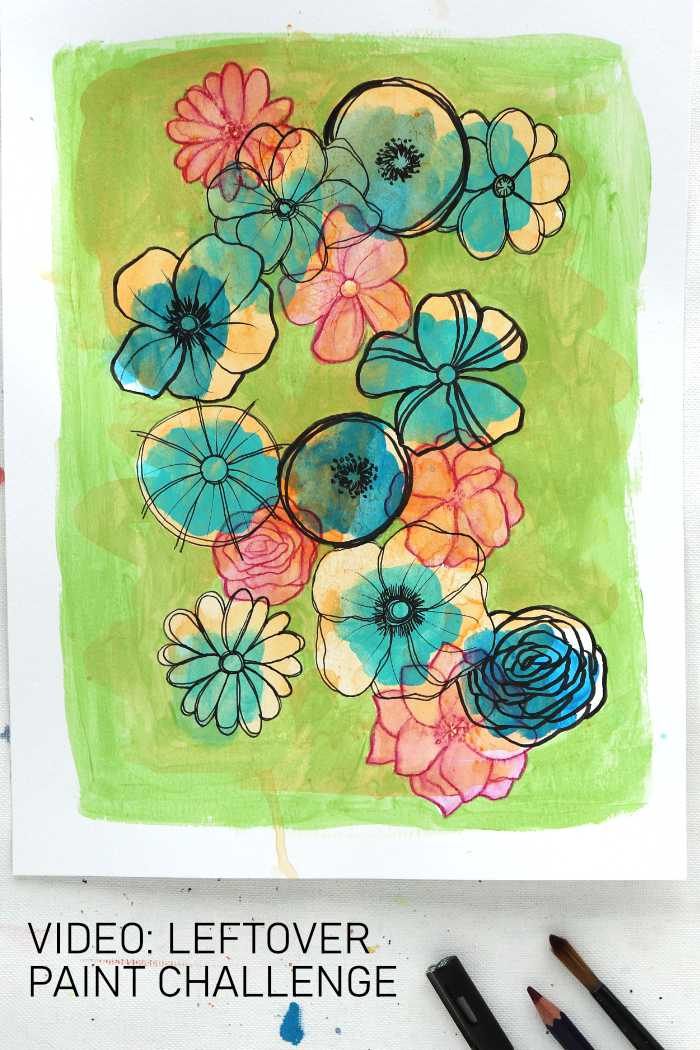 Flower artwork made with leftover paint bu Kim Dellow