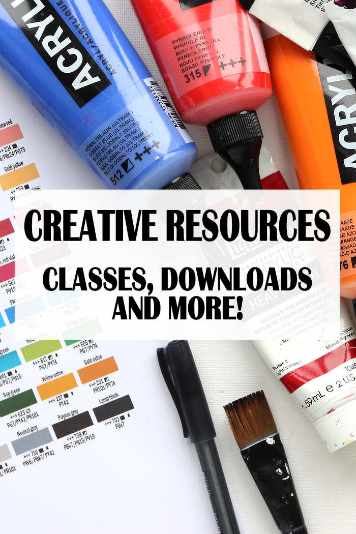Picture of paints with the title: Creative Resources - Classes, downloads and more!