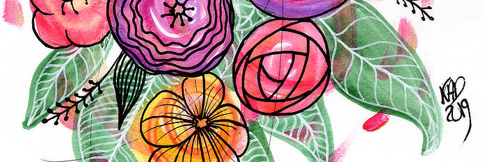 close up of some painted and doodle flowers by Kim Dellow