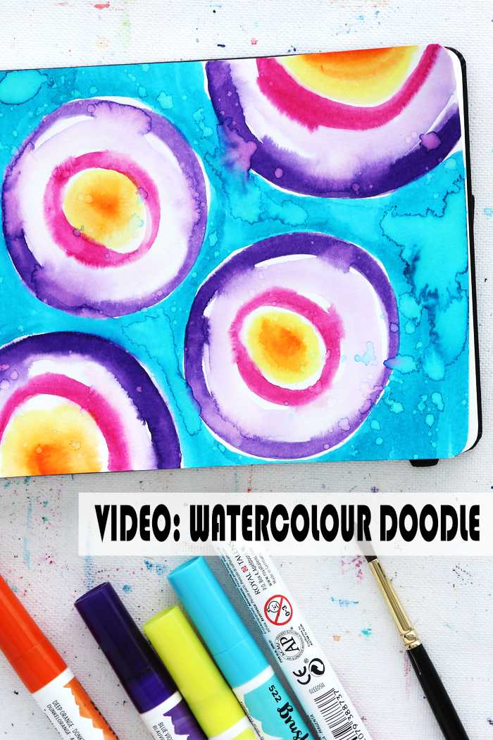 Bright watercolour doodle by Kim Dellow