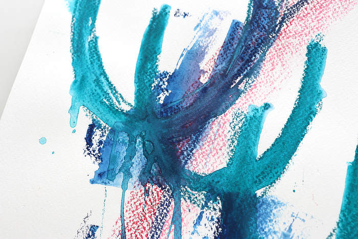 Close up of crayon texture on a scribble abstract by Kim Dellow
