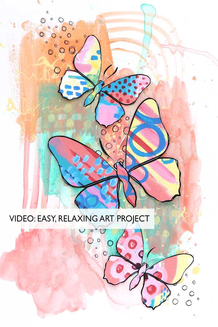 Colourful butterflies on a mixed media background, by Kim Dellow