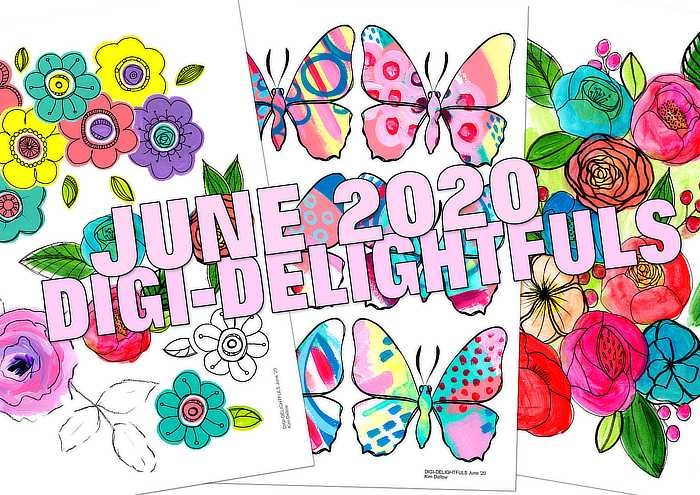 June 2020 printable art pack for Kim Dellow's Patreon
