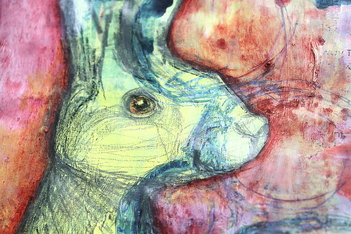 close up of Mixed media hare from Kim Dellow's Art journal - Journal with me!