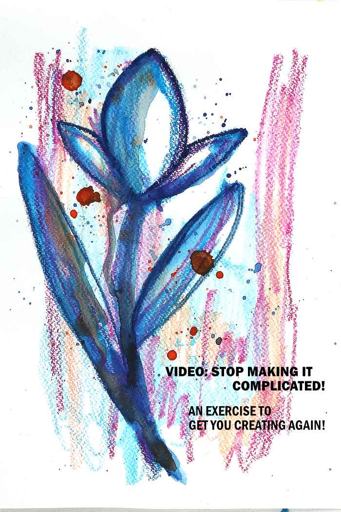 Stop making it complicated with this art exercise from Kim Dellow. Blue flower.
