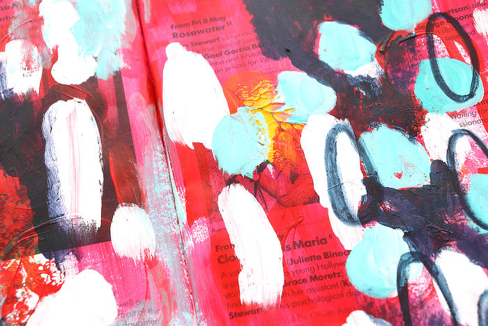 Colourful Acrylic Paint Abstract From My Junk Journal and Art Chat ***VIDEO***