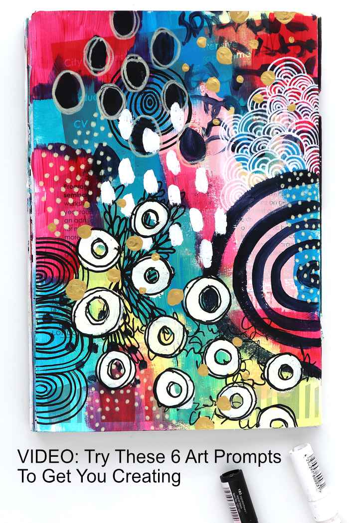 Art Journal page built using 6 art prompts by Kim Dellow