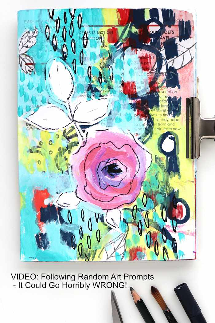 A journal page made using random art prompts by Kim Dellow