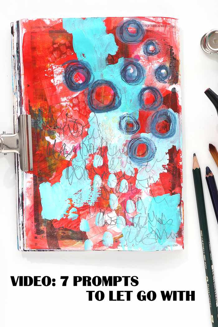art journal page from Kim Dellow using 7 prompts