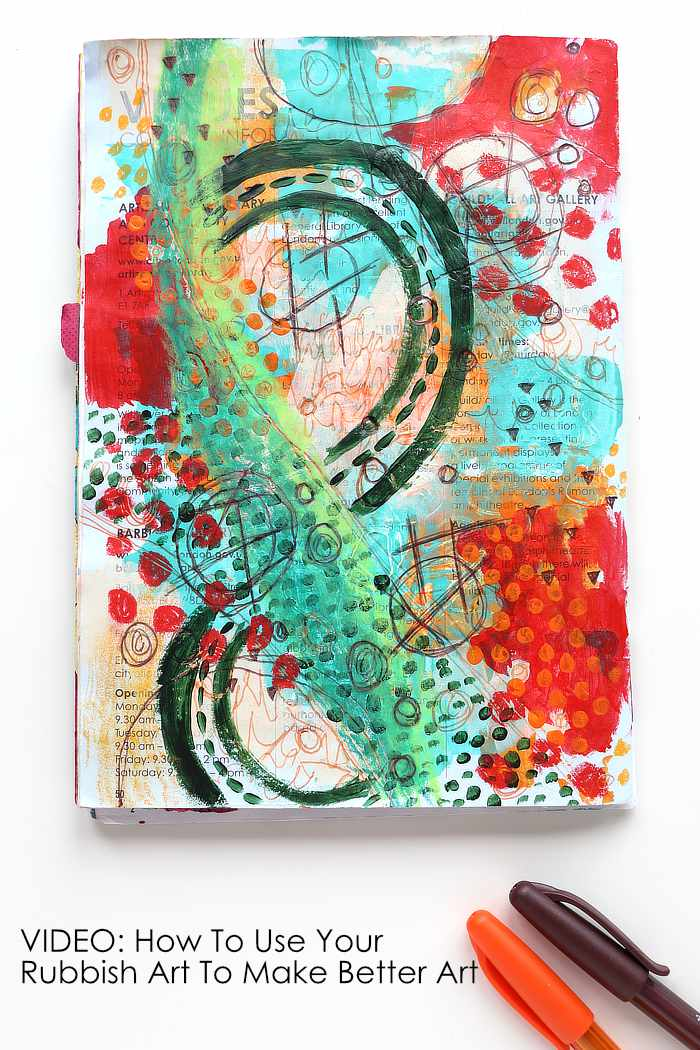 Green and red Junk Journal Page rubbish art by Kim Dellow