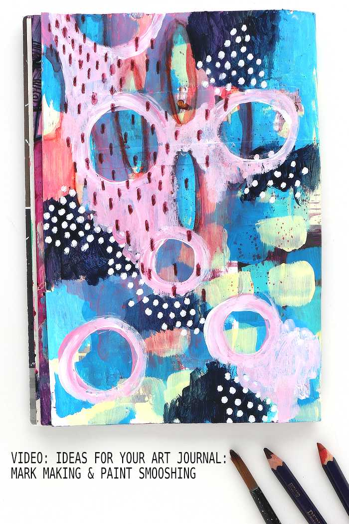 Art journal page in pink and blue, mark making and paint by Kim Dellow