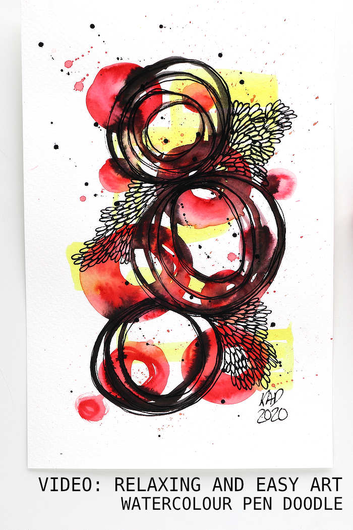 Red, black and yellow watercolour pen and paint pen doodle by Kim Dellow
