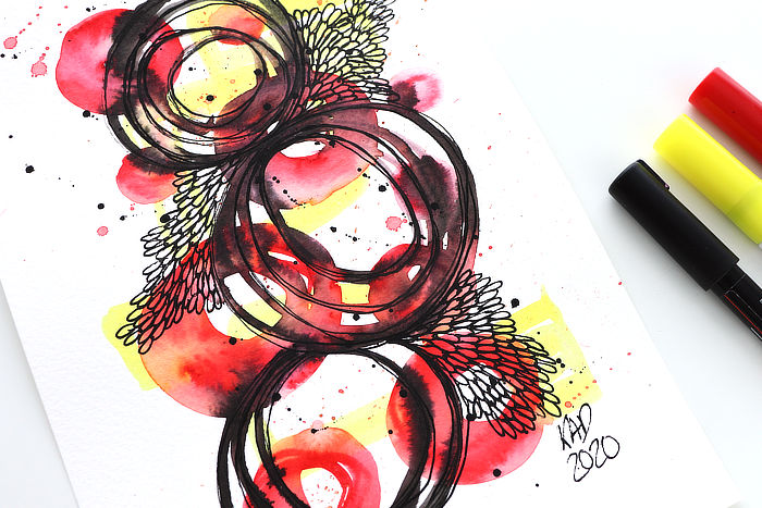Watercolour Pen and Paint Pen Doodle – Relaxing And Easy Art ***VIDEO***