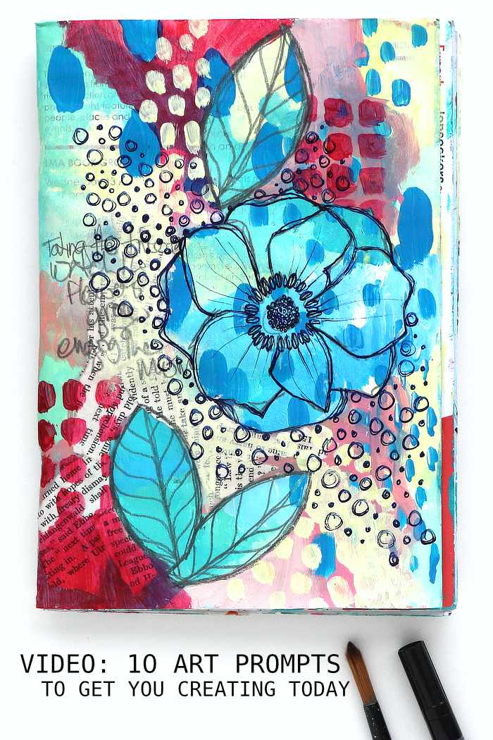 10 Mixed Media Art Prompts floral art journal page by Kim Dellow