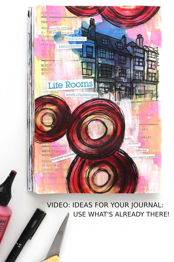 An art journal page from Kim Dellow, using what is already on it, bright paint and collage