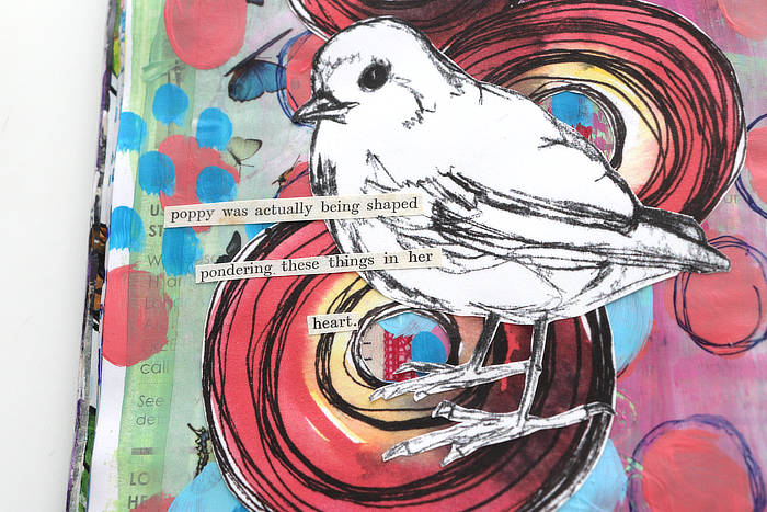 Close-up of art journal page by Kim Dellow with storytelling and using words