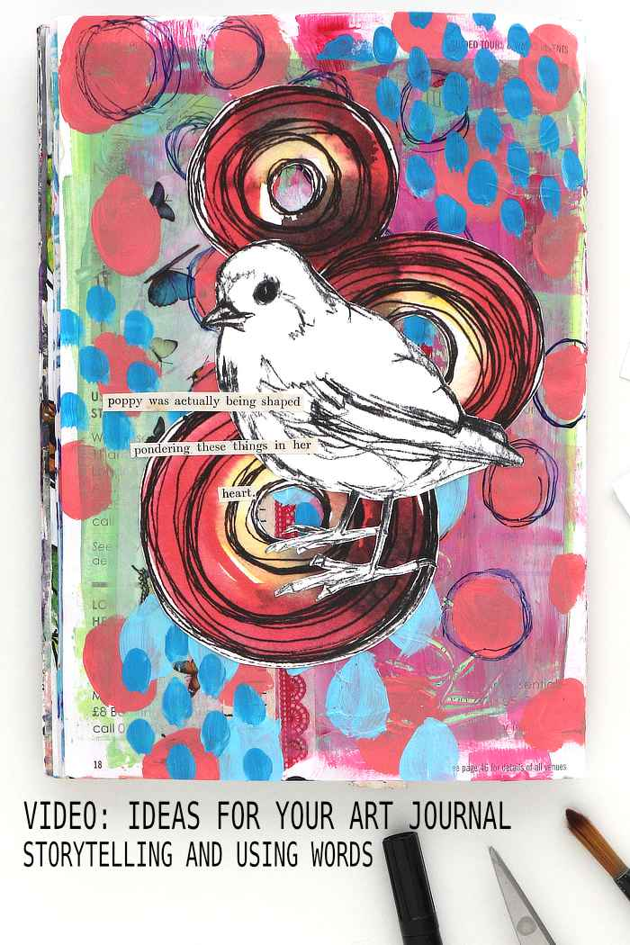Art journal page by Kim Dellow with storytelling and using words