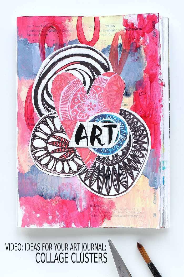 Collage cluster art journal page with doodles and a heart from Kim Dellow