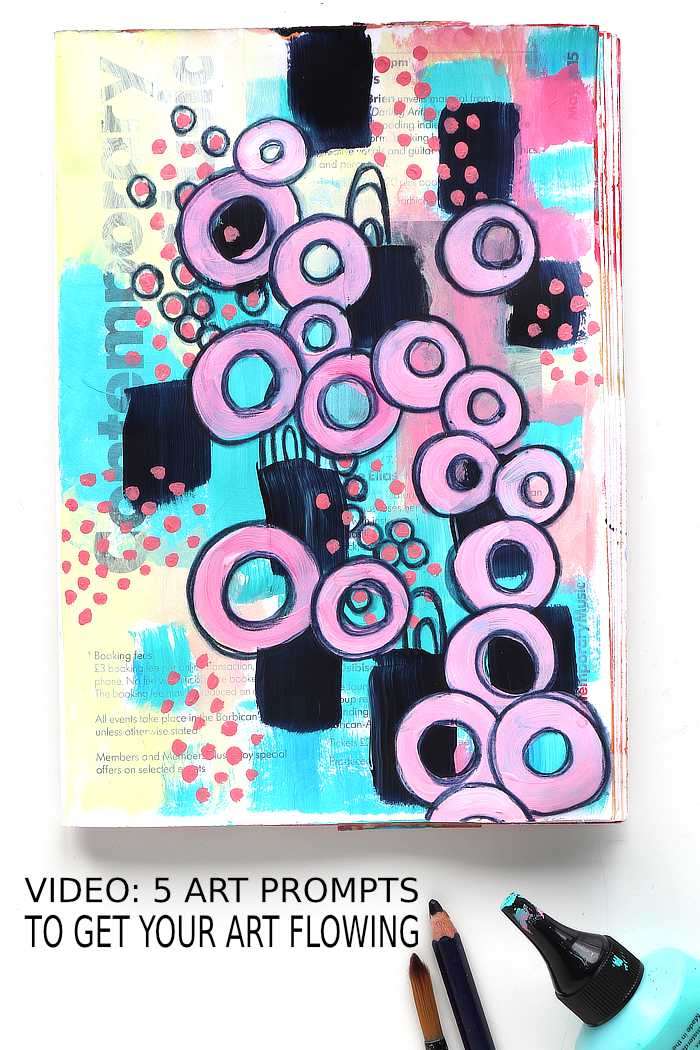 Circles and doodles Junk Journal page using prompts to get your art flowing from Kim Dellow