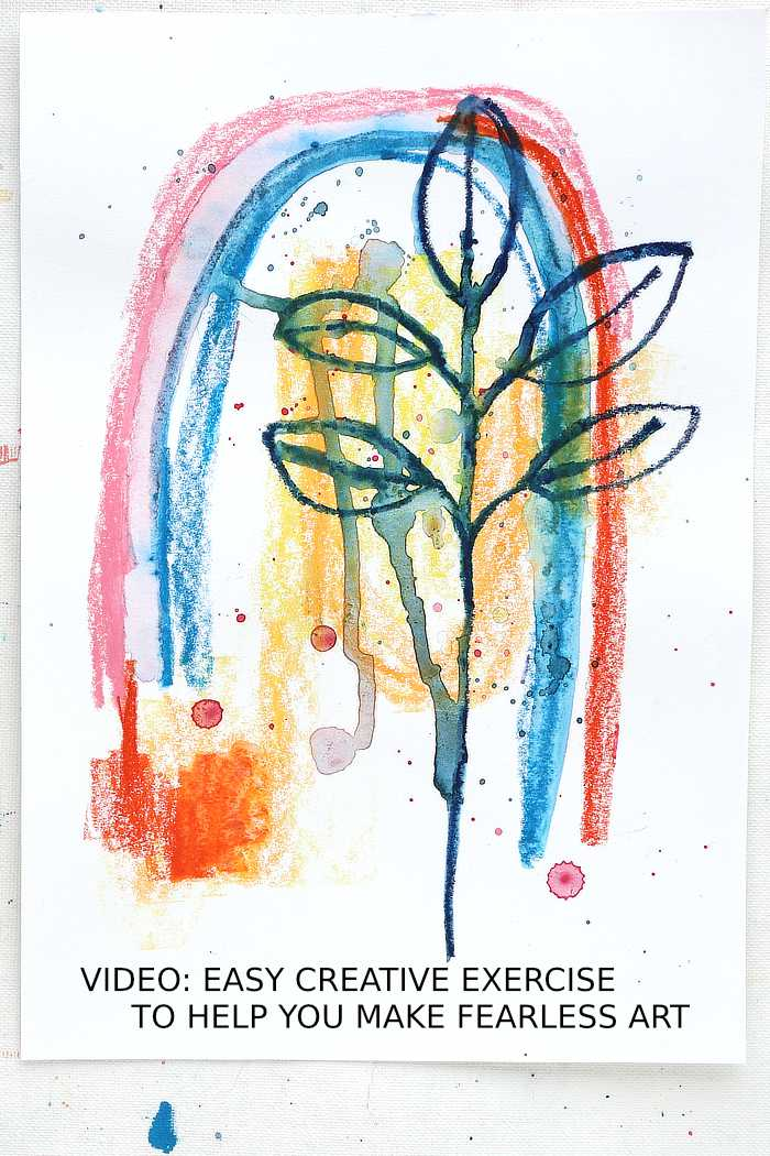 Leaf scribble from Kim Dellow - exercise to help you make fearless art.
