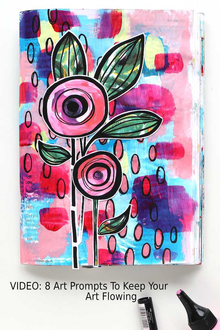 Kim Dellow's junk journal page using 8 art prompts
