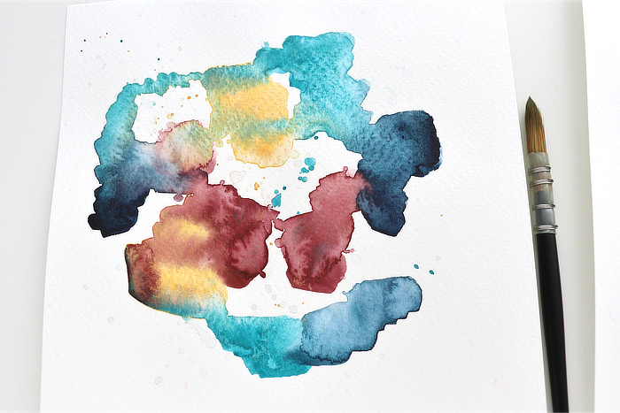 Close up of one Watercolour abstracts in jewel colours by Kim Dellow