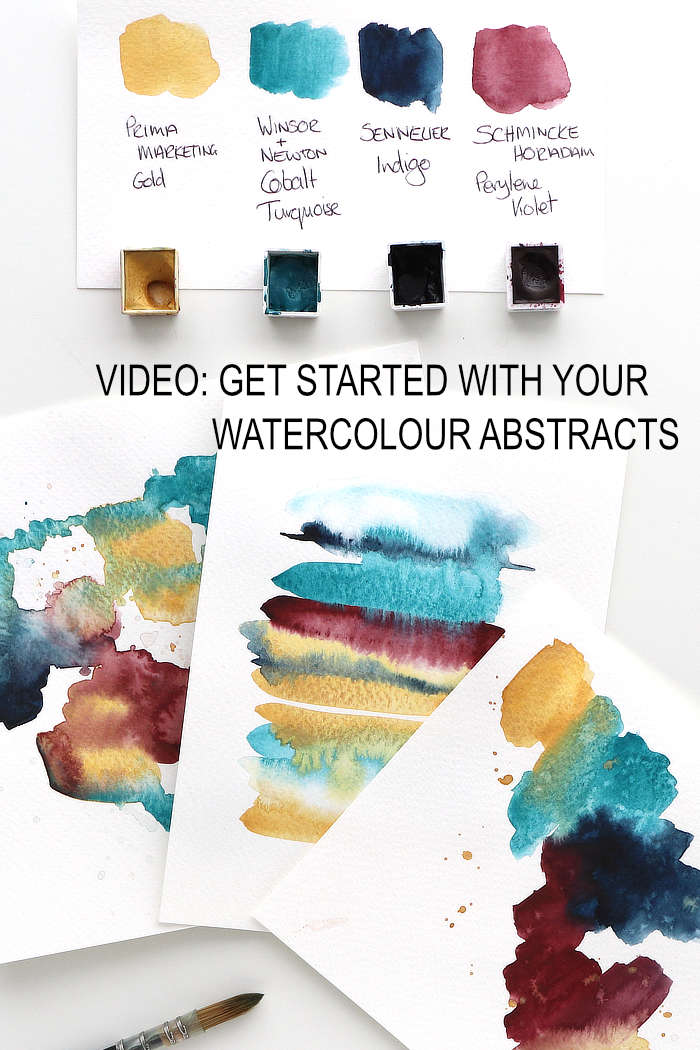 Watercolour abstracts in jewel colours by Kim Dellow